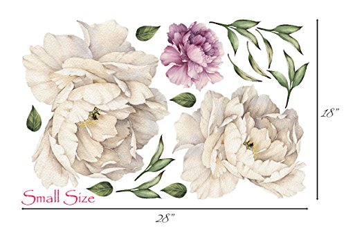 Art Arrangements Floral - Peony Flowers Vintage Bouquet Wall Decal Sticker Peel and Stick Floral Art Decor Removable and Reusable #3033 (Small, White Bloom - 3 Flowers)