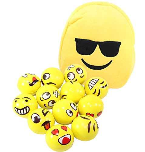 Set of 12 Assorted Fun Emoji Face Squeeze Ball Happy Face Hand Wrist Finger Exercise Stress Relief Therapy Squeeze Ball & Smiling Face With Sunglasses Kids Backpack Bag Satchel ~ We Pay Your Sales Tax