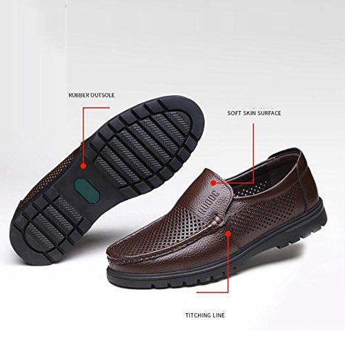 Conducción Zapatos Para Hombres Verano Planos Caminar Sandalias Hombres Respirables Cuero Mocasines Marrón De Huecos rTrqPxF
