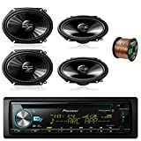 Pioneer DEH-S6000BS Car CD Player Receiver Bluetooth USB AUX Radio - Bundle Combo With 4x Pioneer TSG6820S 250-Watt 6x8'' inch 2-Way Coaxial Car Audio Speakers + Enrock 50 Ft 16 Gauge Speaker Wire
