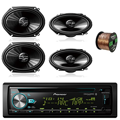 Pioneer DEH-S6000BS Car CD Player Receiver Bluetooth USB AUX Radio - Bundle Combo With 4x Pioneer TSG6820S 250-Watt 6x8'' inch 2-Way Coaxial Car Audio Speakers + Enrock 50 Ft 16 Gauge Speaker Wire by EnrockAutomotiveBundle