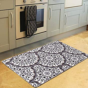 UArtlines Anti Fatigue Kitchen Floor Mats Extra Support and Thick Waterproof Non Slip Washable for Home Office Standing Desk Rug Comfort Heavy Duty Standing Mats Black-White, 17x47Inch