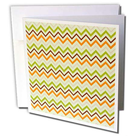 3dRose Alexis Design - Pattern Dot Line Chevron - Chevron Pattern of Orange, Green, Brown Colors on Light Green - 12 Greeting Cards with envelopes (gc_292920_2) (Dot Green Cards)