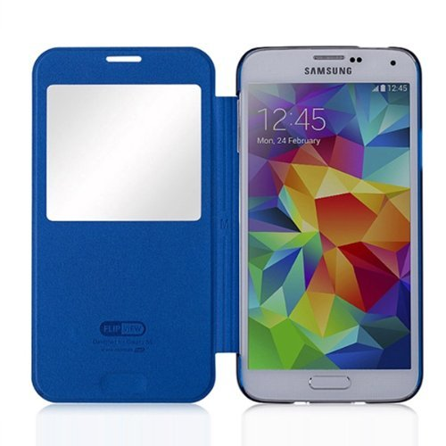 Moon Monkey Lightweight Ultra-thin Slim Protective Case with Intelligent Window for Samsung Galaxy S5 (Blue)