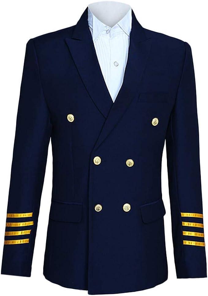 JoCome Herren Slim 3 teilig Anzug Flugzeug Commander Jacke