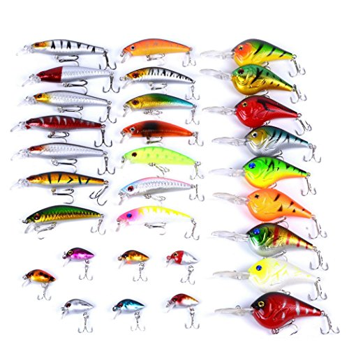 Freshwater Bass Bait (Aorace 30pcs Fishing Lures Kit Mixed including Minnow Popper Crank Baits With Hooks For Saltwater Freshwater Trout Bass Salmon Fishing)