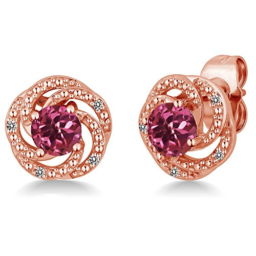 - Gem Stone King 1.06 Ct Round Pink Tourmaline White Diamond 18K Rose Gold Plated Silver Flower Design Earrings