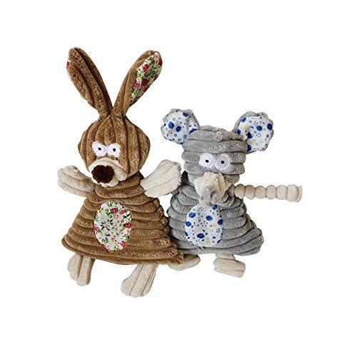 Stock Show 2Pcs Pet Squeaky Toy Corduroy Plush Bunny and Mou