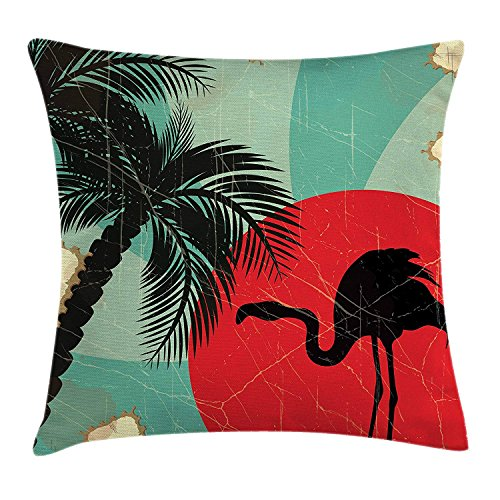 ZQKCMY Tropical Throw Pillow Cushion Cover, Retro Style Grunge Hawaiian Composition with Flamingo Silhouette and Palm Trees, Decorative Square Accent Pillow Case, 18 X 18 inches, Multicolor