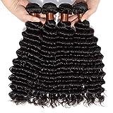 BLACKMOON HAIR(TM) Brazilian Hair 4 Bundles Weaves Virgin Unprocessed Deep Wave Human Hair 12 12 12 12 inches Brazilian Deep Wave Hair Natural Black Color