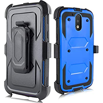 Moto G4 Case, Moto G4 Plus Case, Heavy Duty Armor Shockproof Protection Case Cover Belt Swivel Clip Kickstand Motorola Moto G4 Plus(2016) (Blue)