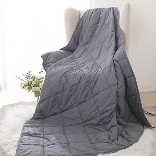 Utridevn Gravity Sensory Weighted Blanket Throw, Benefits for Adult Women and Men with Anxiety, Autism,Sleepless - Gray (60
