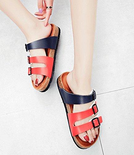 ZKOO Mujeres Sandalias de Ajustable Hebilla Footbed De Corcho Vendaje Zapatos Sandalias De Playa Zapatos Casual de Verano Azul Rojo