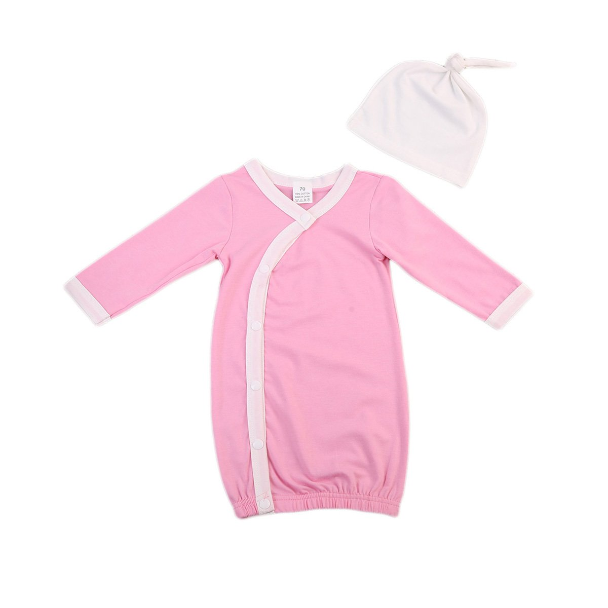 ITFABS Newborn Baby Boy Girl Nightgowns Cute Long Sleeve Cotton Pajamas Sleeper Wear with Hat