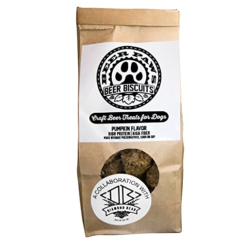 Dog Beer Pumpkin Dog Treats – Share a Doggy Beer Biscuit w/Your Best Friend – High Protein Dog Pumpkin Treat w/Cinnamon & Ginger for Dogs, Non-Alcoholic Festive Beer Dog Treats, Pumpkin Dog Biscuits ()