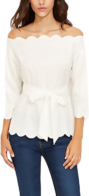 Mujer Tops Camisetas Primavera Verano Blancos Elegantes Moda Fiesta Blusa Basicas Simple Manga 3/4 Hombros Descubiertos Barco Cuello con Volantes con Cinturón Camisas T Shirt: Amazon.es: Ropa y accesorios