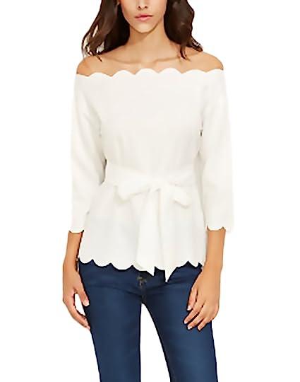 Mujer Tops Camisetas Primavera Verano Blancos Elegantes Moda Fiesta Blusa Basicas Simple Manga 3/4