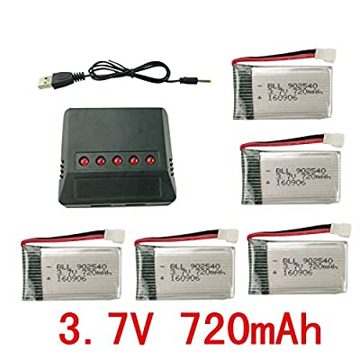 sea jump Lipo Battery Charger + 5Pcs 3.7V 720mAh Battery 5 in 1for Syma X5C X5C-1 X5A X5 X5SC X5SW H5C V931: Toys & Games