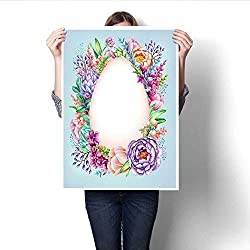 """Anshesix Wall Art Canvas Prints Watercolor Illustration Easter Floral Background Wild Flowers Egg Shape Frame Invitation Blank Card Template Print Paintings for Home Wall Office Decor 32""""x48"""""""