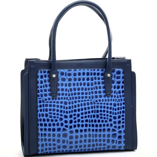 Dasein Women's Boxy Fashion Chic Patent Croco Leather Like Tote Bag Handbag Briefcase Satchel Top Hnadle bag - Blue