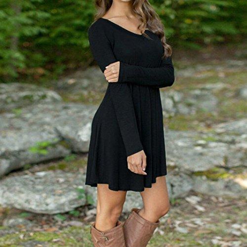 Vestido de invierno de otoño, RETUROM Casual mini vestido de manga larga Negro