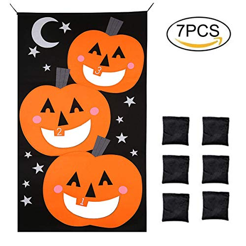 Firlar Pumpkin Bean Bag Toss Game 6 Bean Bags, Halloween Pumpkin Banner Fun Throwing Games Party Decorations Kids Adults by Firlar