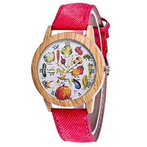 WoCoo Casual Analog Quartz Watch with Fruits dial PU Leather Strap Wrist Watches(Red)