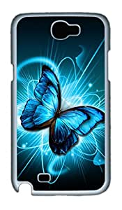 Samsung Galaxy Note 2 Cases, Samsung Galaxy Note 2 Case - Blue Butterfly In Flowers PC Case for Samsung Galaxy Note 2 / N7100 White