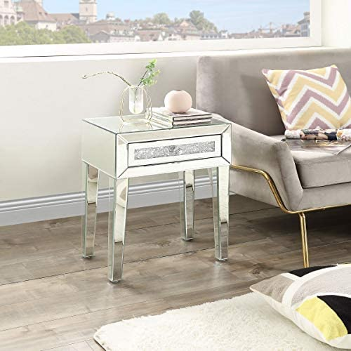Mirrored End Table, Crystal End Table with 1-Drawers, Mirror Accent Silver Table, Modern Contemporary Furniture for Living Room from Mireo Furniture