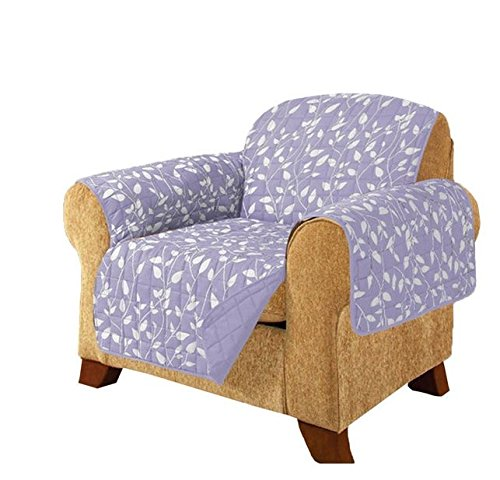 MN 1 Piece Lilac Purple Floral Theme Chair Protector, Geometric Flower Pattern Couch Protection Flowers Floral Plants Leaves Furniture Protection Cover Pets Animals Covers Nature Motif, Polyester by MN
