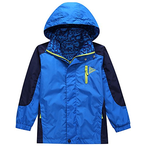 KID1234 Boys' Lightweight Rain Jacket Quick Dry Waterproof Hooded Coat Blue