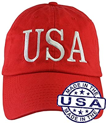 Donald Trump USA 45 Hat (100% USA Made) Red Hat Strap Back