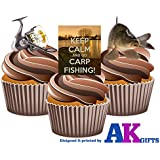 Keep Calm And Go Carp Fishing Mix Cake Decorations - Edible Stand-up CupCake Toppers by AKGifts