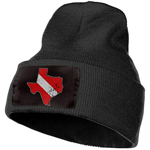 Vintage Texas Scuba Dive Flag Map Diving Diver Mens & Womens Adult Unisex Outdoor Wool (Diver Embroidered Cap)
