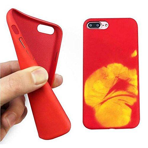 Funda para iPhone 6 Plus/6S Plus, Ez-Buy TPU calor térmico de inducción de calor ultra-delgada cubierta trasera carcasa de telefono -rojo rojo