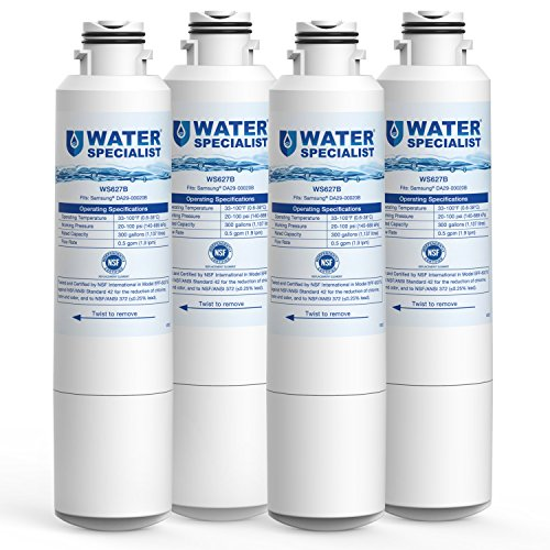 Waterspecialist Refrigerator Water Filter, Replacement for Samsung DA29-00020B, HAF-CIN, HAF-CIN/EXP, DA29-00020A/B, DA97-08006A, RF28HMEDBSR, RF4287HARS, RF263TEAESG, RH22H9010SR (Pack of 4)