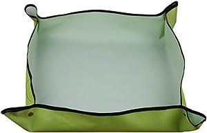 19 x19 inch Foldable Gardening Mat,Portable Indoor Waterproof Garden Mat,Anti Dirty Potting Tarp for Plants,Gardening Potting Mat Dust Proof Mat,Square Repotting Mat Plant Transplanting Tarp (Green)