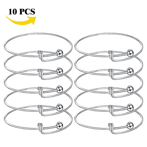 Expandable Wire Blank Bangle Bracelet Adjustable Stainless Steel Bangle for DIY Jewelry Making Pack of 10