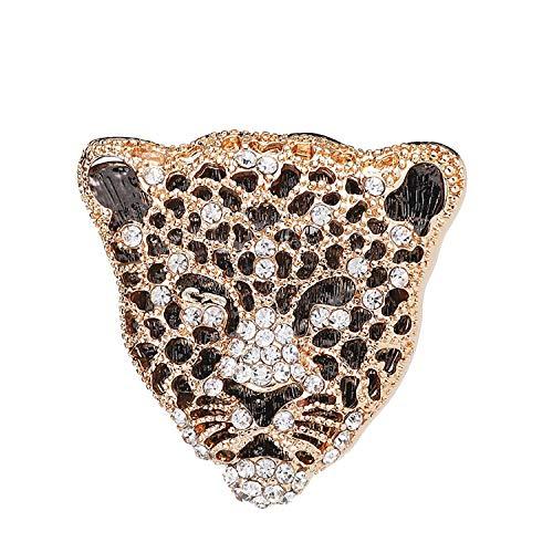 HUILAIKE Punk Retro Cheetah Brooch Pin Men Women Costume Decoration Gold Tone Unique Lapel Pin Jewelry (Gold)