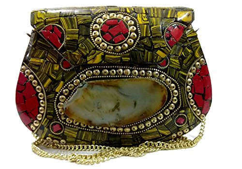 tiger color ethnic metal bag festival bag metal stone bag vintage bag boho bag, antique purse, tribal clutch, handmade clutch