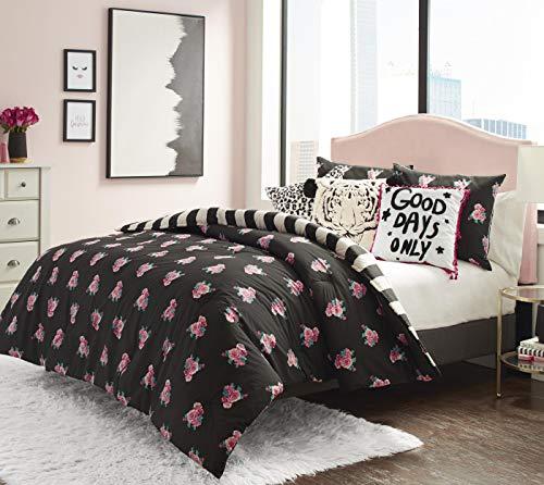 Betsey Johnson Romantic Roses Comforter Set, Full/Queen, Black