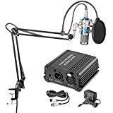 Neewer NW-800 Condenser Microphone (Blue+Silver) Kit with Suspension Boom Scissor Arm Stand, Table Mount Clamp, Pop Filter, Shock Mount, 48V Phantom Power Supply for Studio Rcording