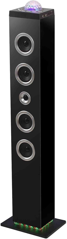 BigBen TW10 - Equipo de Home Cinema, 120 W, con Bluetooth, USB, SD, MP3, Radio FM, Bola de Leds en la Parte Superior, Negro