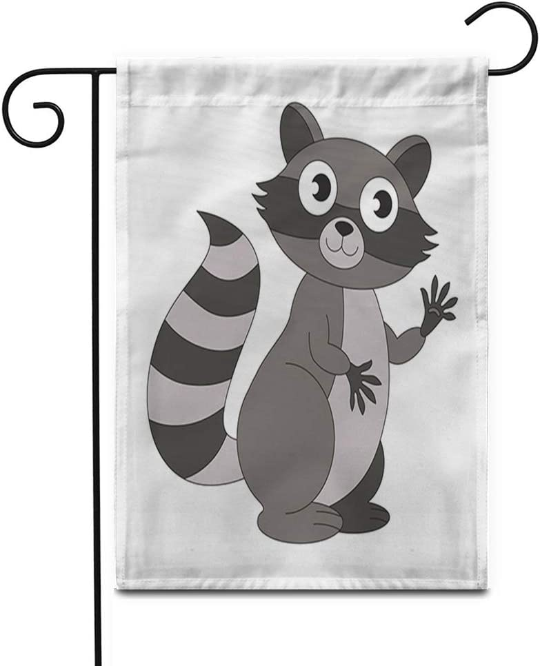 """Awowee 12""""x18"""" Garden Flag Racoon Raccoon Cartoon Outlined Thin Line Black Stroke Animal Baby Outdoor Home Decor Double Sided Yard Flags Banner for Patio Lawn"""