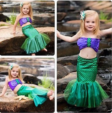 [little mermaid dress cosplay kids for girl fancy green dress] (Awesome Toddler Halloween Costumes)