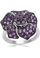 Jewelili Flower Ring with Round Amethyst in Sterling Silver, Ring Sz 7