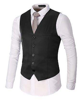2652f5f603 DianShao Mens Solid Color Gilet Business Casual Slim Fit Suit Vest V-Neck  Waistcoat  Amazon.co.uk  Clothing