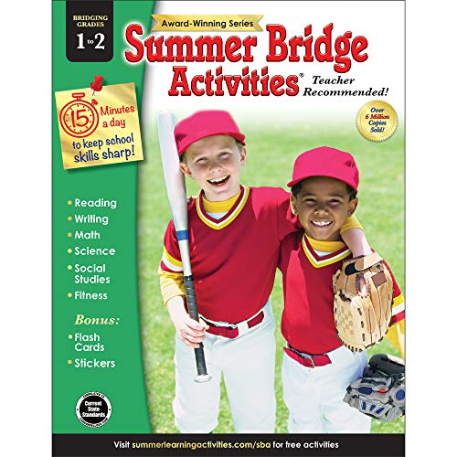 Summer Bridge Activities - Grades 1 - 2, Workbook for Summer Learning Loss, Math, Reading, Writing and More with Flash Cards and Stickers (Core Advantage)