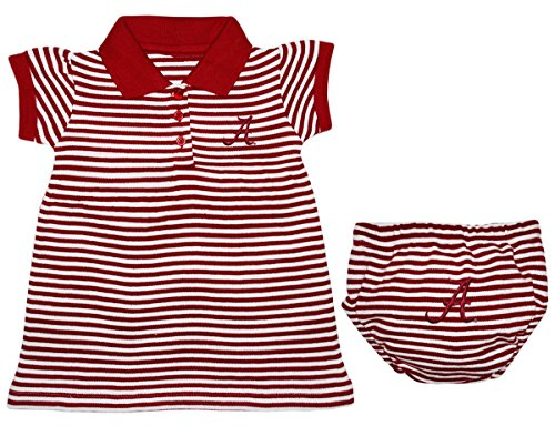 University of Alabama Crimson Tide Striped Game Day Dress with Bloomer, Crimson, 6-9 (University Alabama Day Game)