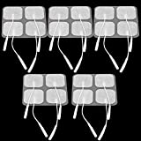 Lemonbest 20pcs Grey Tens Electrode Pads 1.6 * 1.6 inch Reusable Self-Adhesive Massage Pads Replacement Electrode Tens Pads with 2mm Connector